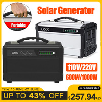 600W/1000W 110V/220V Portable Solar Inverter Generator Pure Sine Wave Outdoor UPS Battery Charge Power Supply Energy Storage