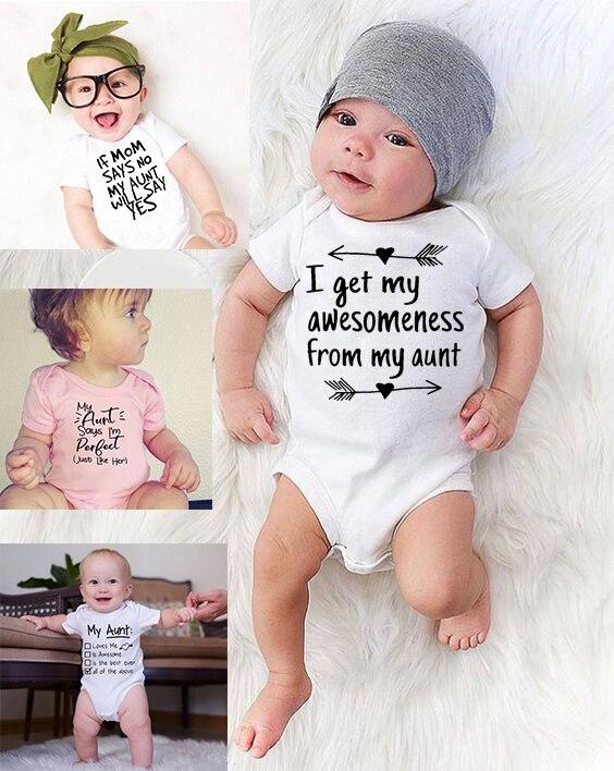 Macacão da criança minha tia diz que eu sou perfeito carta impressão algodão verão branco bodysuits recém-nascidos engraçado tia roupas de bebê