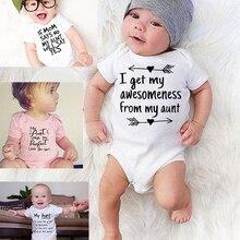 Toddler Jumpsuit My Aunt Says I'm Perfect Letter Print Cotton Summer White Newborn Bodysuit