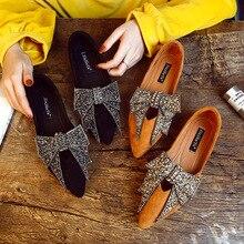 وأشار اصبع القدم حذاء بدون كعب النساء فراشة عقدة قطيع النساء حذاء مسطح الانزلاق على الأحذية السوداء حذاء مريح
