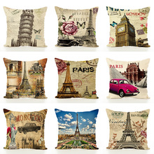 Eiffel Iron Tower Flax Cushion Embrace Pillow Case Waist By Home Textile Yarn decorative pillows