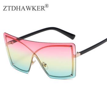 Modne kolorowe jednoczęściowe duże oprawki modne okulary przeciwsłoneczne męskie i damskie okulary Ocean piece okulary tanie i dobre opinie ZTDHAWKER WOMEN SQUARE Dla dorosłych Poliwęglan UV400 61mm 60mm
