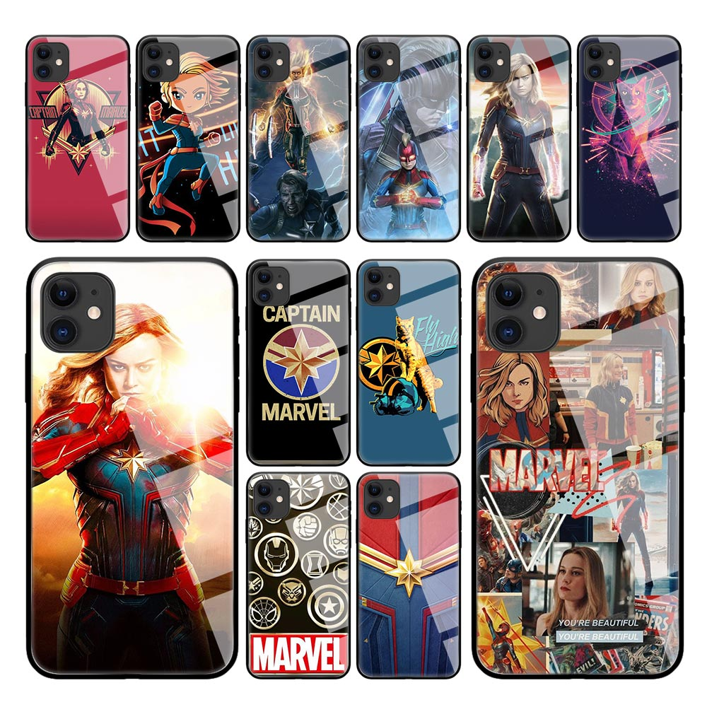 Marvel Movie Surprise Captain Case for iPhone 11 Pro Max X XS XR 8 7 6 6S Plus SE 2020 Shell Tempered Glass Coque Phone Cover image