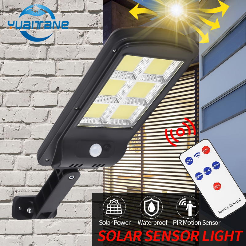 300W Outdoor Solar LED Street Light IP65 waterproof Wall Lamp Remote Control Upgraded COB lamp Industrial Garden Square Highway