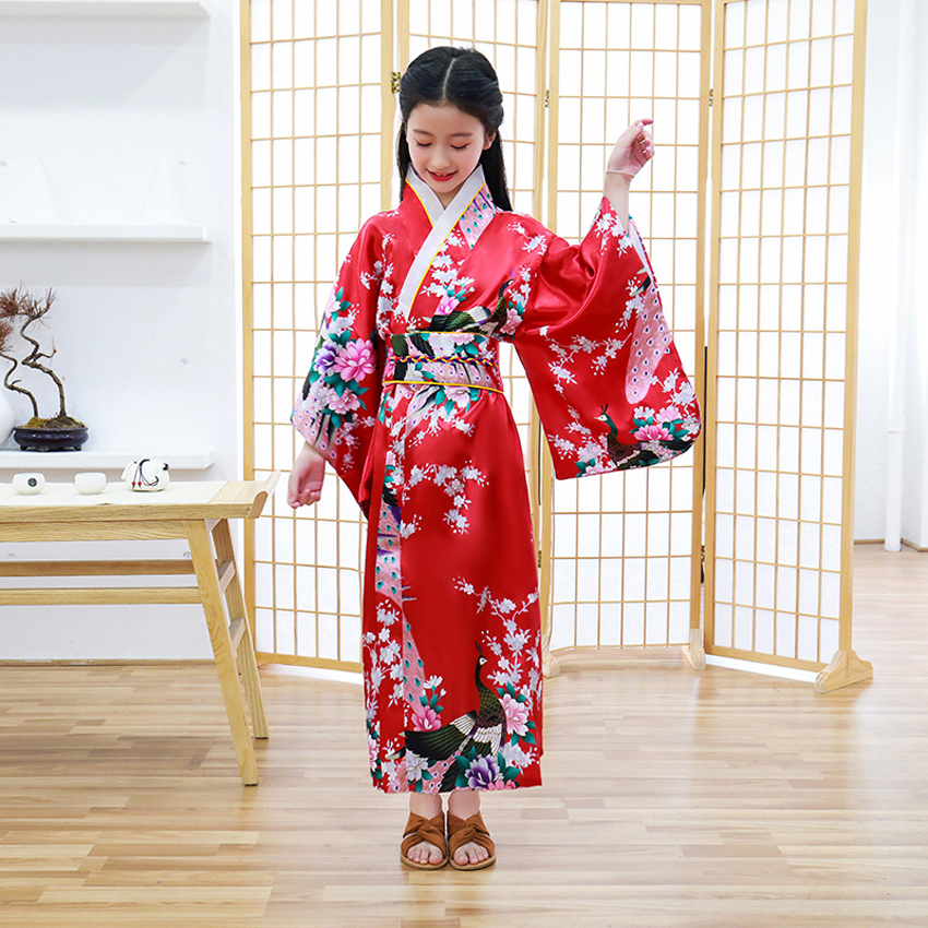 Kids Gilrs Japanese Traditional Kimono Dress Oriental Retro Vintage Wedding Dress Yukata Satin Silk Japan Dance Costumes
