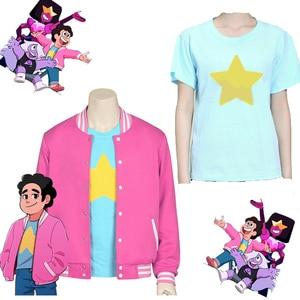 2020 Moovie Steven Universe Quartz cosplay Men Baseball uniform Unisex Coat T Shirt Jacket Tee Top T Shirt Halloween Costume(China)