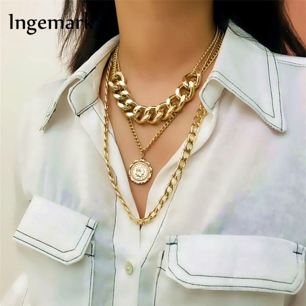 Ингемарк панк Майами кубинское колье ожерелье преувеличенная толстая цепочка Европейская и американская мода королева кулон ожерелье женское ювелирное изделие
