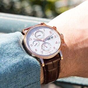 Image 3 - שוויץ LOBINNI גברים שעוני יוקרה מותג לוח שנה התמידית רב פונקציה אוטומטי מכאני ספיר עור שעון L13019 6