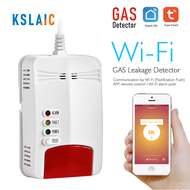 KSLAIC Wifi Gas Sensor Alarm Natural CH4 Leak Combustible Gas Detector Smart Life Home Kitchen Security App Control Tuya Sensor
