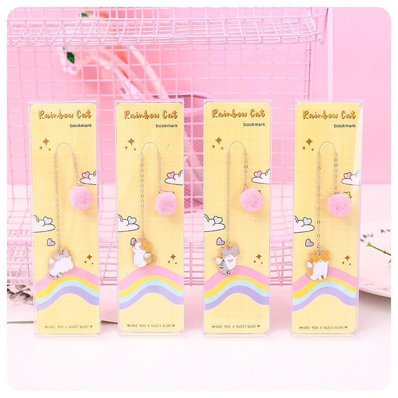 Kawaii Rainbow Cat Series Pendant Bookmark Stationery School Office Supply Escolar Papelaria