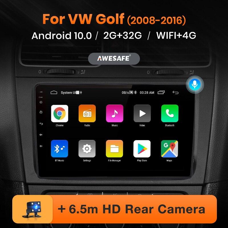 AWESAFE PX9 Radio del coche para Volkswagen Golf 6 2008 - 2016 reproductor Multimedia 2 Din Android 10 Autoradio navegación 4G Wifi Carplay