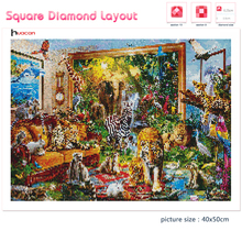 Huacan 5d Diamond Painting Full Drill Square Animals Mosaic Tiger Handmade Gift Embroidery Elephant Home Decoration