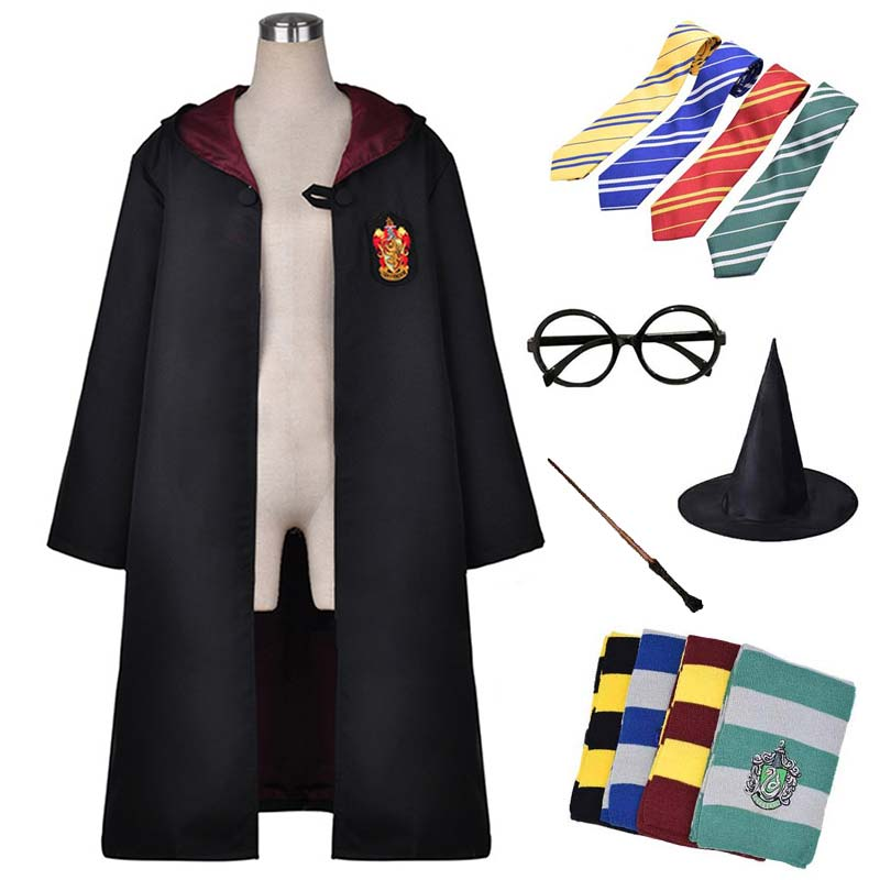 Cosplay Suit Potter Costumes Robe Cape Cloak With Tie Scarf Ravenclaw/Gryffindor/Hufflepuff/Slytherin Kids Brithday Gift