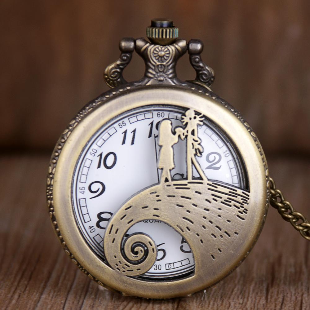 Retro Pocket Watch Nightmare Quartz Pocket Fob Watches with Necklace Chain Best Gift for Children Men Women