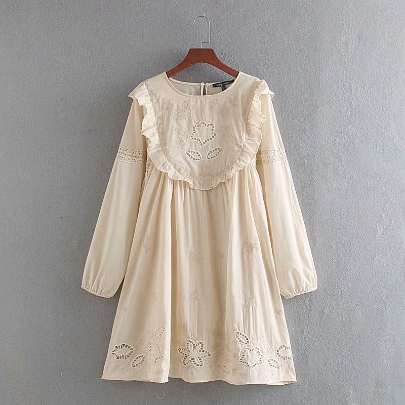 2020 New Spring Summer European Cotton Embroided Zaraing Women Dress Vadiming Sheining Female Streetwear Dress CDC9543