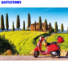 GATYZTORY Frame Motorcycle Diy Painting By Numbers Modern Home Wall Art Picture Coloring By Numbers For Living Room Home Decors(China)