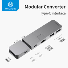 Hagibis USB-C อะแดปเตอร์ HUB Type-C ถึง HDMI USB 3.0 RJ45 Gigabit Ethernet SD/TF PD Charge Converter สำหรับ MacBook Pro/Air Samsung S10(China)