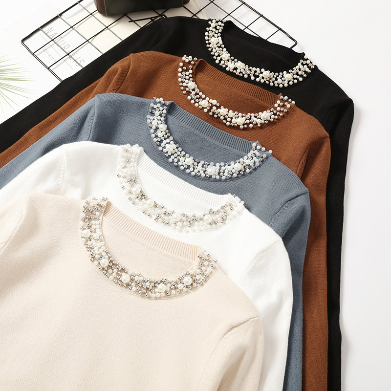 Autumn Beadings O-Neck Pullover Women's Sweater Long Sleeve Solid Office Lady Female Jumper 2020 Winter Khaki Woman Sweaters