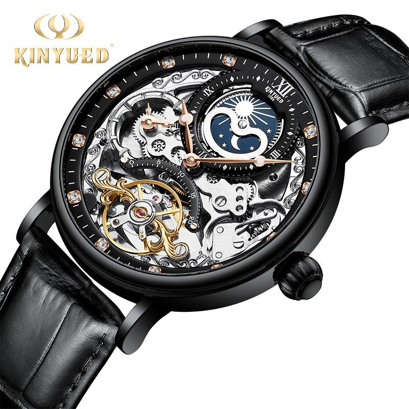 KINYUED Mechanical Wristwatch Skeleton Tourbillon Watch Men Automatic Sport Mens Watches Waterproof Man Moon Phase Wrist-watch