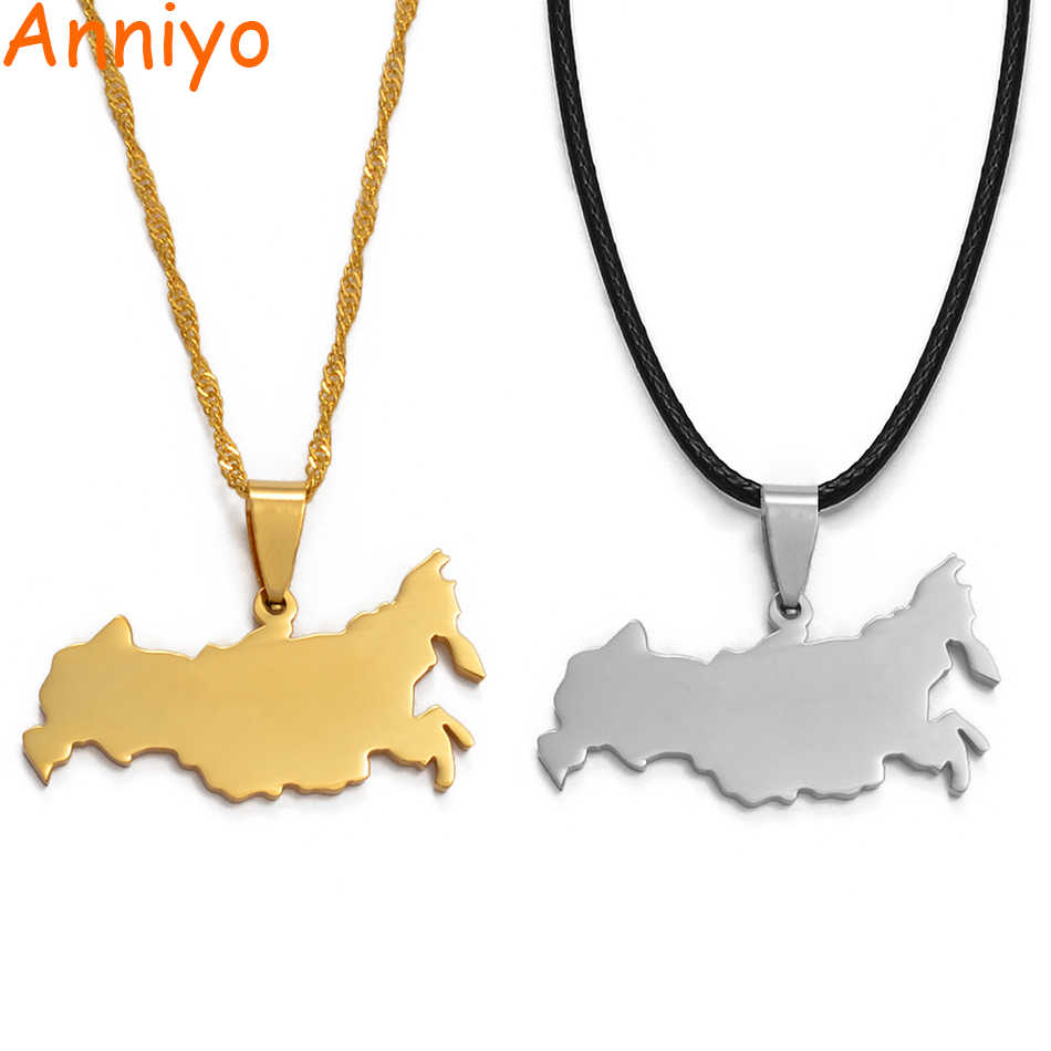 Anniyo TWO COLOR Silver/Gold Color Russia Map Pendant Necklaces The Russian Federation Charm Jewelry #008021@