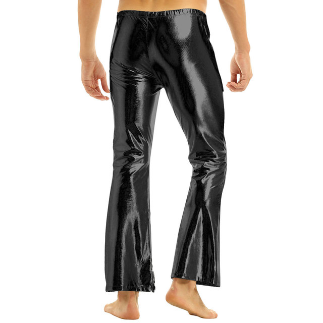 iEFiEL Adult Mens Fashion Club Wear Shiny Metallic Disco Pants with Bell Bottom Flared Long Pants Dude Costume Parties Trousers 3