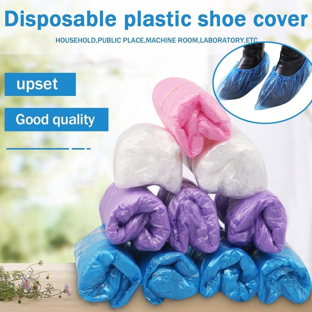 100/200pc Protective Shoe Cover Waterproof Plastic Shoe Cover Outdoor Rainproof Hiking Skid-proof Shoe Coat Thicken 15x40cm #SRN