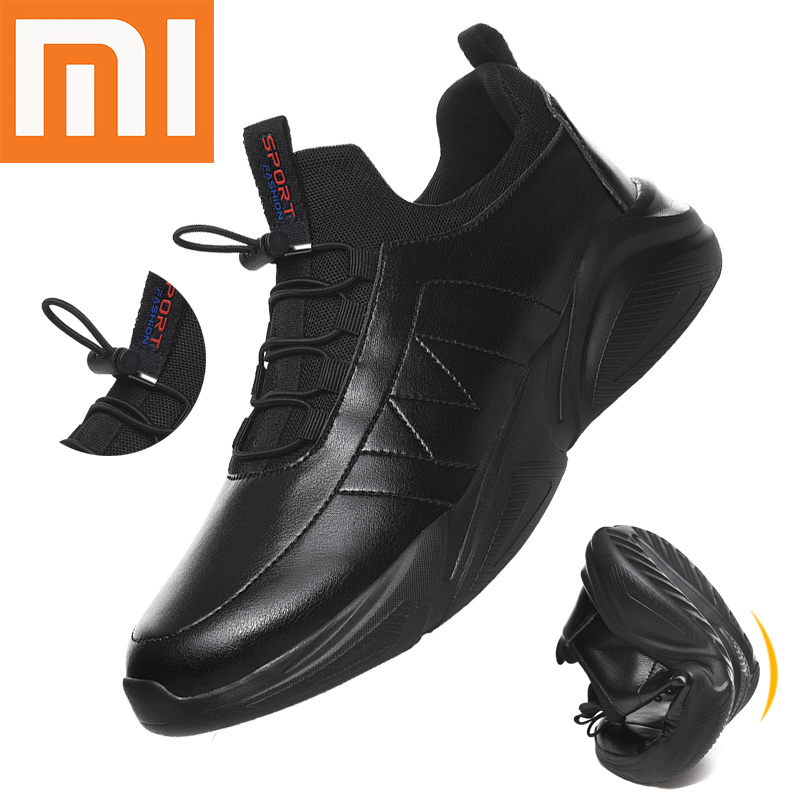 Xiaomi Flexible Leather Men's Casual Shoes Comfor Zapatos De Hombre Men Shoes 46 Walking Shoes Plus Size 48 Autumn Casual Socks