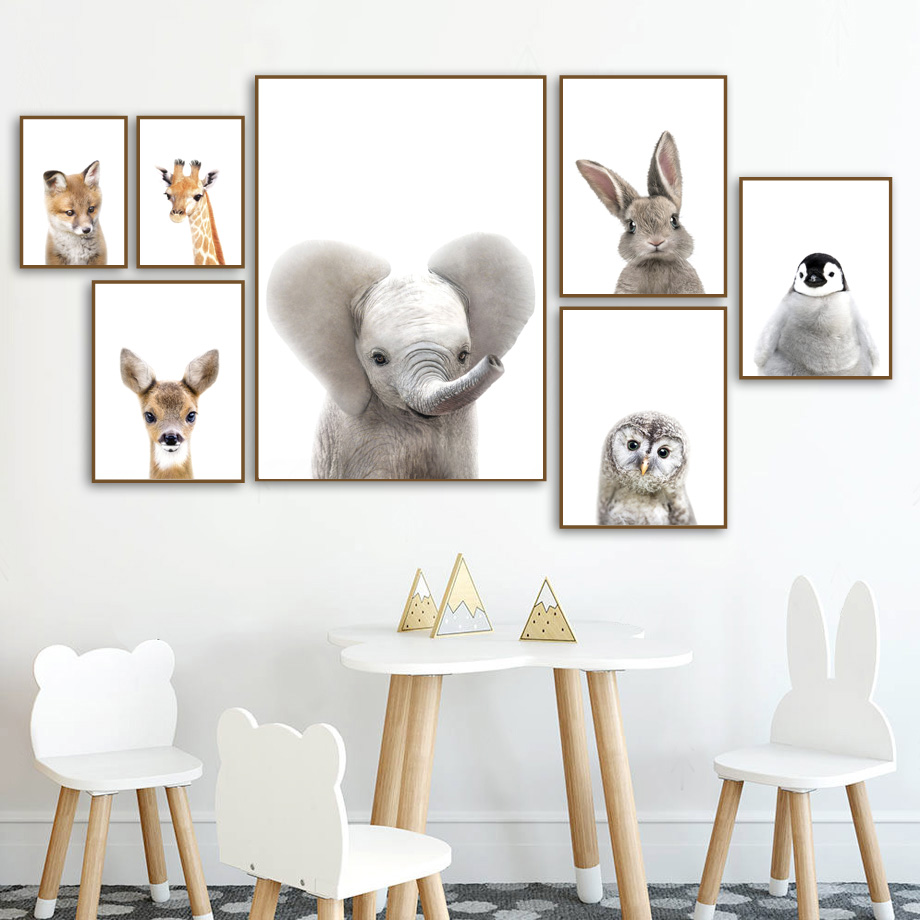 Cute Elephant Deer Fox Rabbit Owl Nursery Wall Art Canvas Painting Nordic Posters And Prints Pictures Baby Kids Room Decor