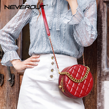 NEVEROUT Chain Circle Shoulder Bag for Women Leather Crossbody Bag with Handle Quilted Style Elegant Ladies Messenger Handbags недорого