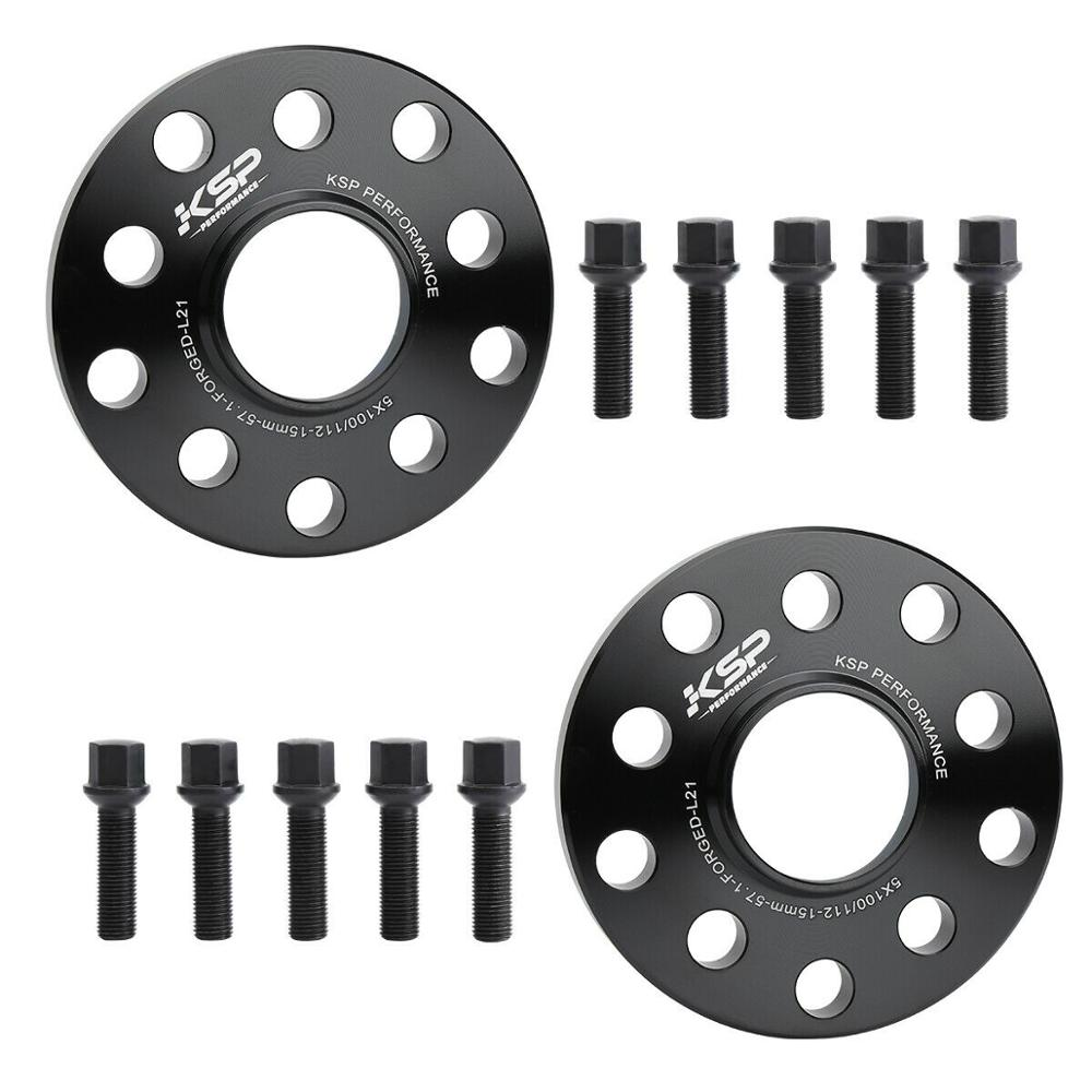 2 5x112 Hubcentric Wheel Spacers Adapters for VW Audi 57.1mm Bore 15mm 5x100