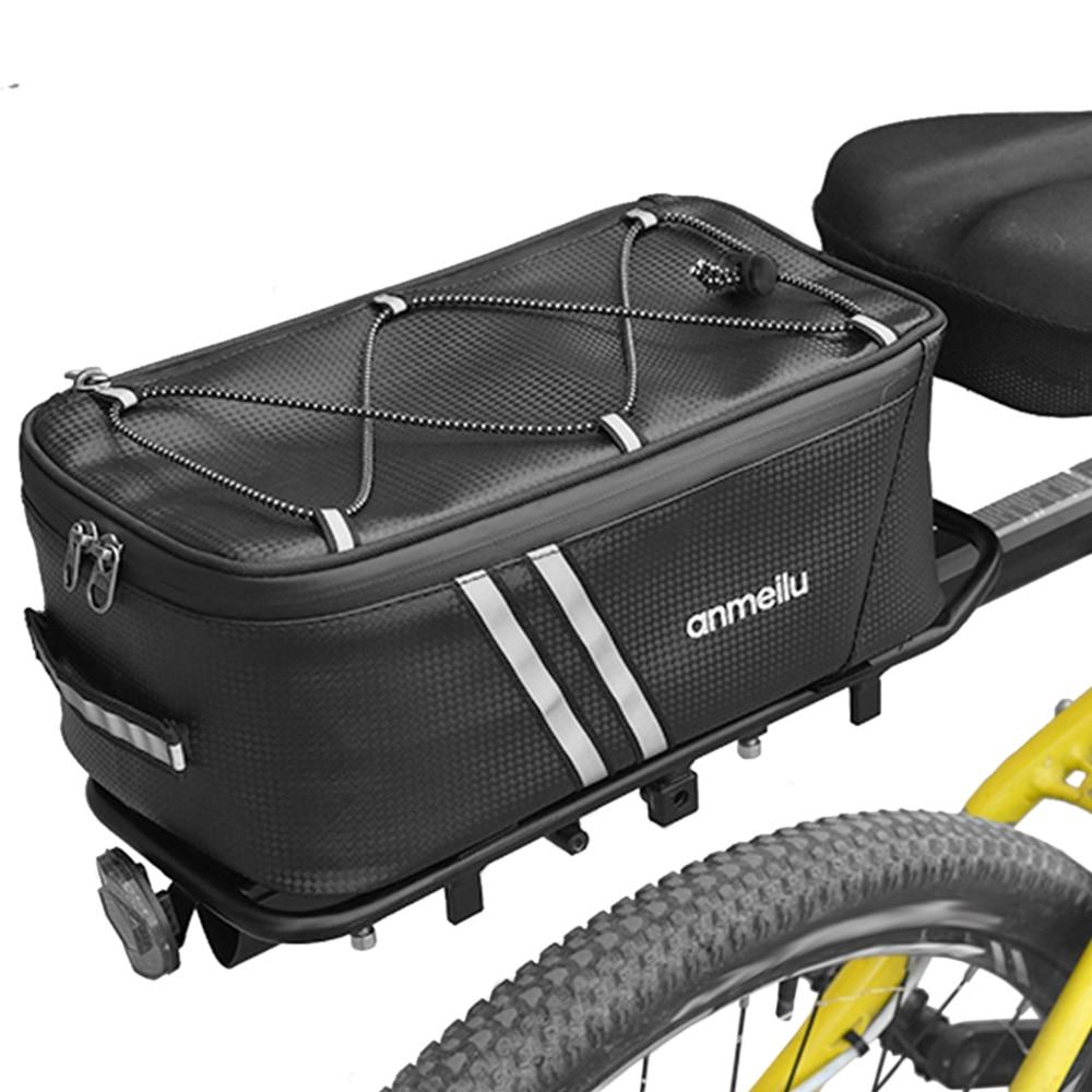 Bolsa de maletero para bicicleta de gran capacidad, bolsa de sillín de viaje para bicicleta de 12L, resistente al agua, bolsa de asiento trasero para ciclismo con cubierta impermeable para la lluvia