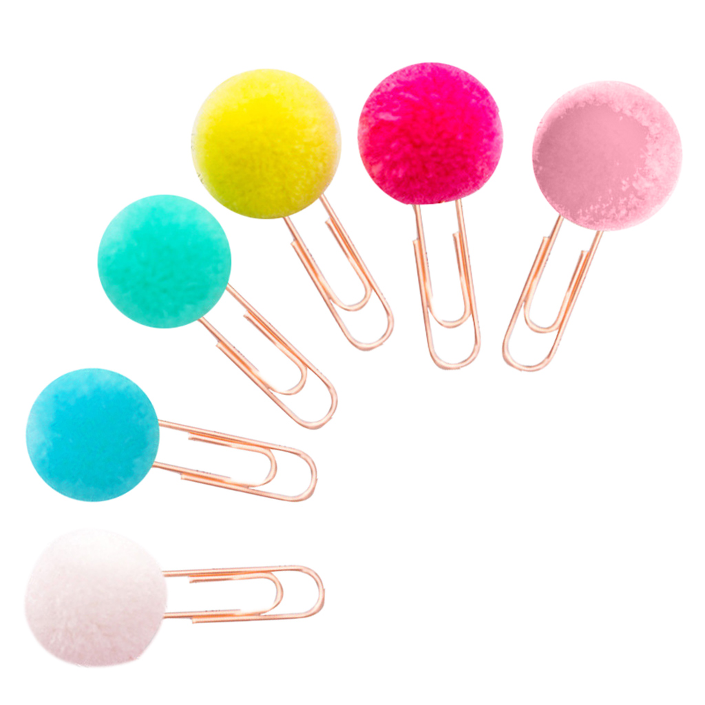 6 Pcs/Bag Colorful Plush Ball Paper Clips Bookmarkers Planner Journal Page Home School Office Supply Drop Ship