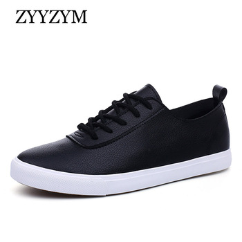 ZYYZYM Fashion Sneakers for Men Lace-Up Style Pu Leather Vulcanized Shoes Men 2020 Epidemic Trend Off White Shoes