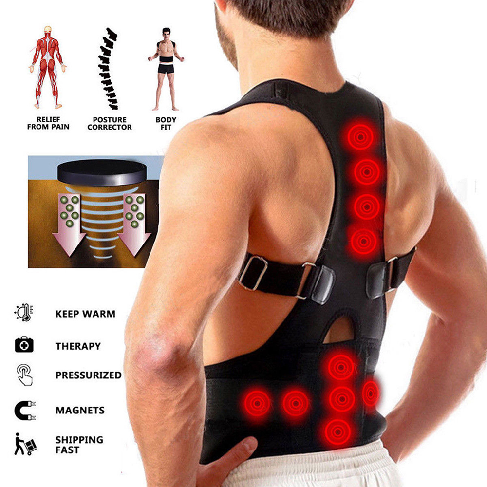 Magnetic Back Posture Corrector adjustable Straps Breathable Panels Shoulder Brace Belt for Men Women s m l xl in Outdoor Fitness Equipment from Sports Entertainment