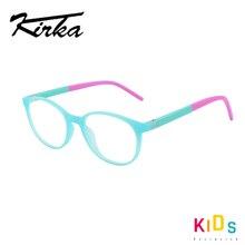 Kirka lunettes optique pour enfants, monture ronde Flexible pour filles, couleur frappante, couleur