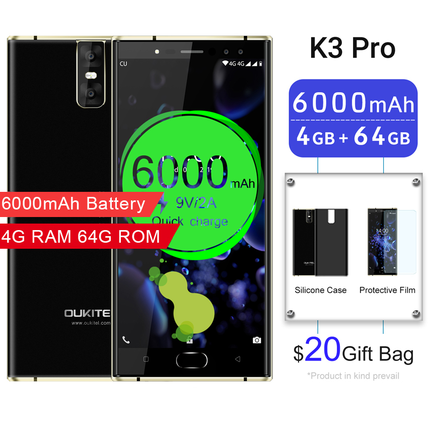 Oukitel K3 Pro Mobile Phones <font><b>6000mAh</b></font> Octa Core 4GB + 64GB 5.5