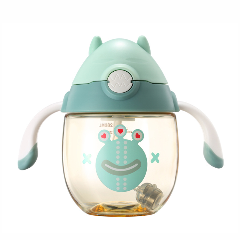 Wei Lun Seoul Children Cup With Straw Baby Sippy Cup Baby Belt Handle Leak-Proof Anti Choking Shatter-resistant Glass