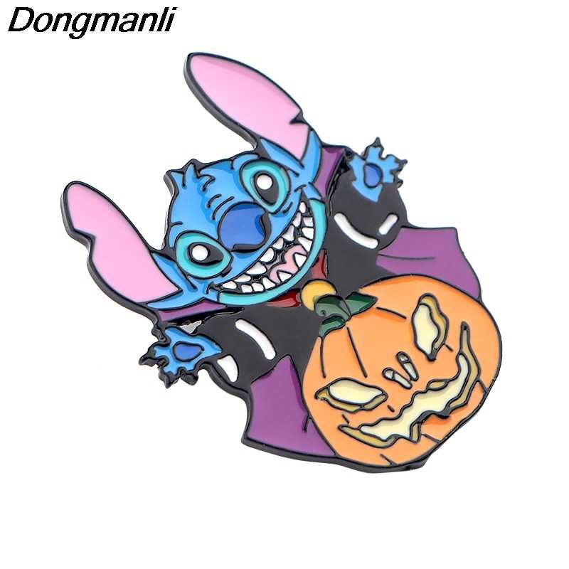 P4197 Dongmanli Alien Nette Halloween Emaille Pins und Broschen für Frauen Mode Revers Pin Rucksack Taschen Abzeichen Geschenke