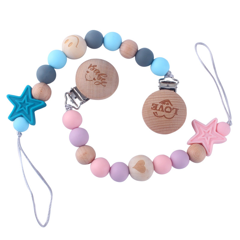 Baby Silicone Pacifier Holder Anti-drop Chain Silicone And Wood Beads Star Cute Infant Pacifier Clips Chains For Baby Boys Girls