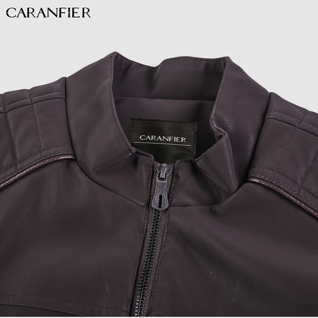 CARANFIER Fashion Winter Leather Jacket Men Stand   5