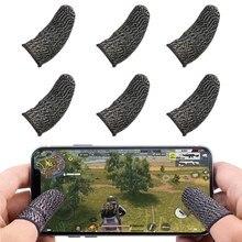 Em estoque mangas de dedo para jogos jogo móvel contato sn dedo berço suave fino anti-suor para pubg jogos móveis (6 peças)