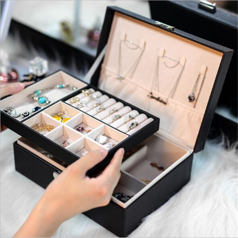 Large Jewelry Box Single/Double/3 Layers Dressing Chest Storage Box With Lock Jewelry Organizer For Bracelet Ring Earring