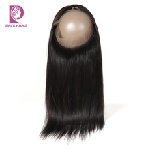 Racily Hair 360 Lace Frontal Closure Brazilian Straight Hair 360 Frontal With Baby Hair Remy Human Hair Lace Frontal Closure