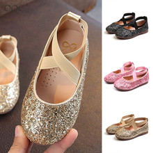 2019 spring autumn new girl leather shoes fashion sequinsKorean version of the Child princess shoes girl dance shoes sandal D35 korean version of slim fashion in the big girl child sweat breathable spring new girl dress for3 13t