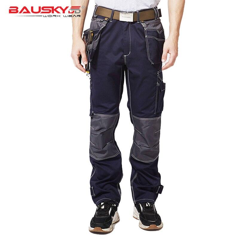 Men's Dark Blue Workpants Durable Carpener Cargo Pants Electrician Work Trousers Work Wear