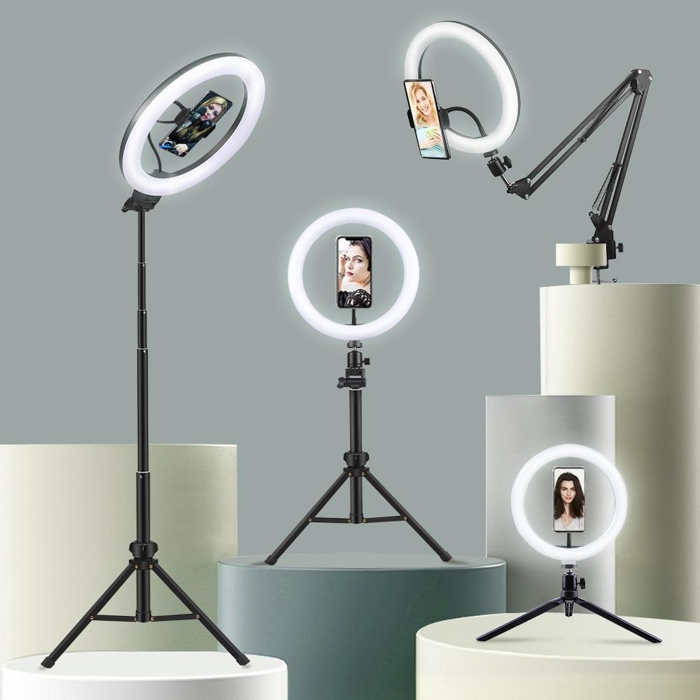 Монопод для селфи кольцо светильник светодиодный обода светильника с держатель мобильного телефона Поддержка штатив-Трипод стойка кольце...