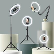 Selfie lampa pierścieniowa fotografia Led krawędzi lampa z uchwyt na telefon wsparcie stojak trójnóg z lampką na żywo streamingu Video tanie tanio EKEN CN (pochodzenie) Rohs Bi-color 3200 K-5600 K