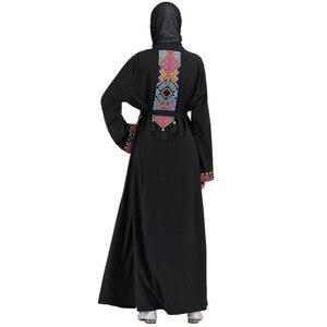 Opened abayas Retro pattern embroidery muslim abaya female full length prayer kimono islamic cardigan robes with belt F954