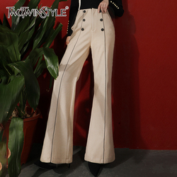 TWOTWINSTYLE Elegant Pants For Women High Waist Double Breasted Pocket Wide Leg Pants Female Fashion Autumn New Clothing 2020