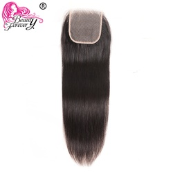 Beauty Forever Brazilian Straight Lace Closure 4*4 Free Part 100% Remy Human Hair PU Silk Base Closure Natural Color 10-20 inch